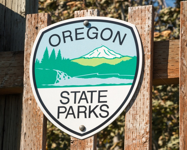 Oregon State Parks Sign. Oregon State Parks sign in a park area of northern Oregon, United States.